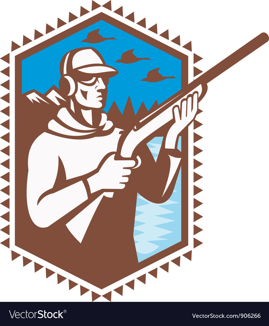 Hunter with shotgun rifle vector | Price: 1 Credit (USD $1)
