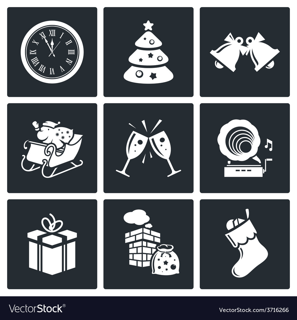 New year icons set vector | Price: 1 Credit (USD $1)