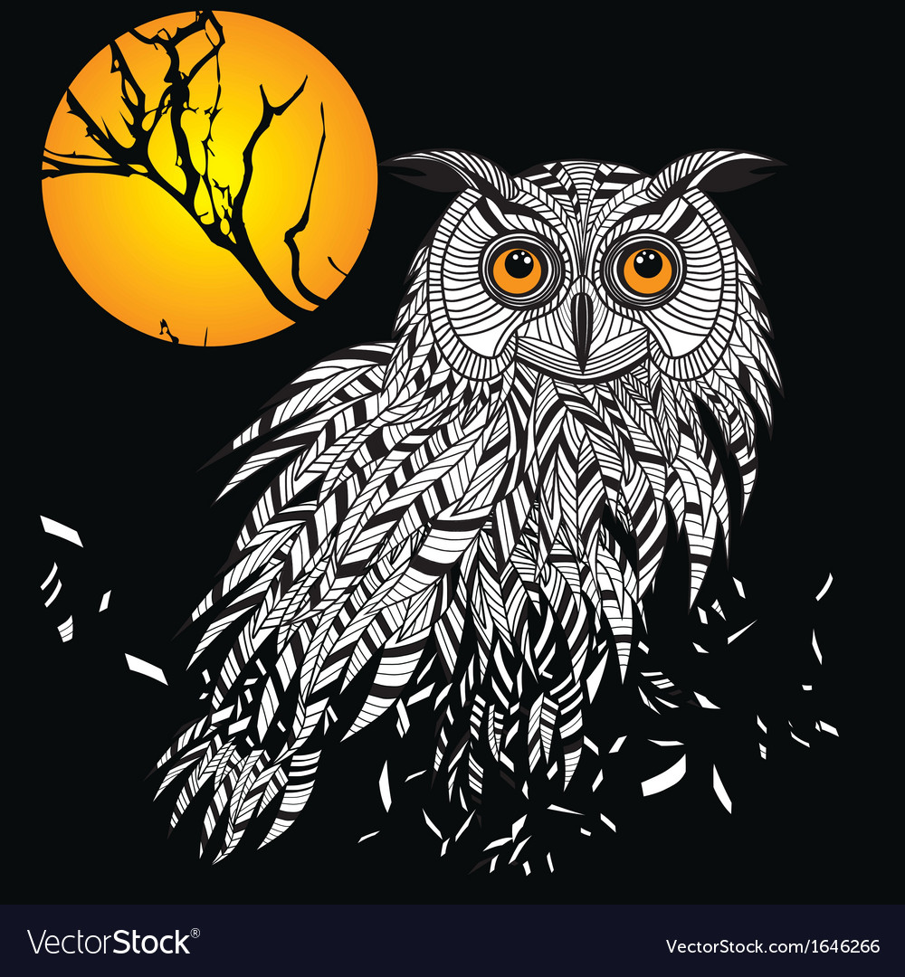Owl bird head as halloween symbol for mascot or em vector | Price: 1 Credit (USD $1)