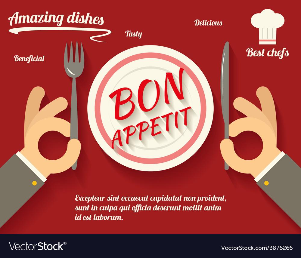 Restaurant promotion concept symbol hands cutlery vector | Price: 1 Credit (USD $1)