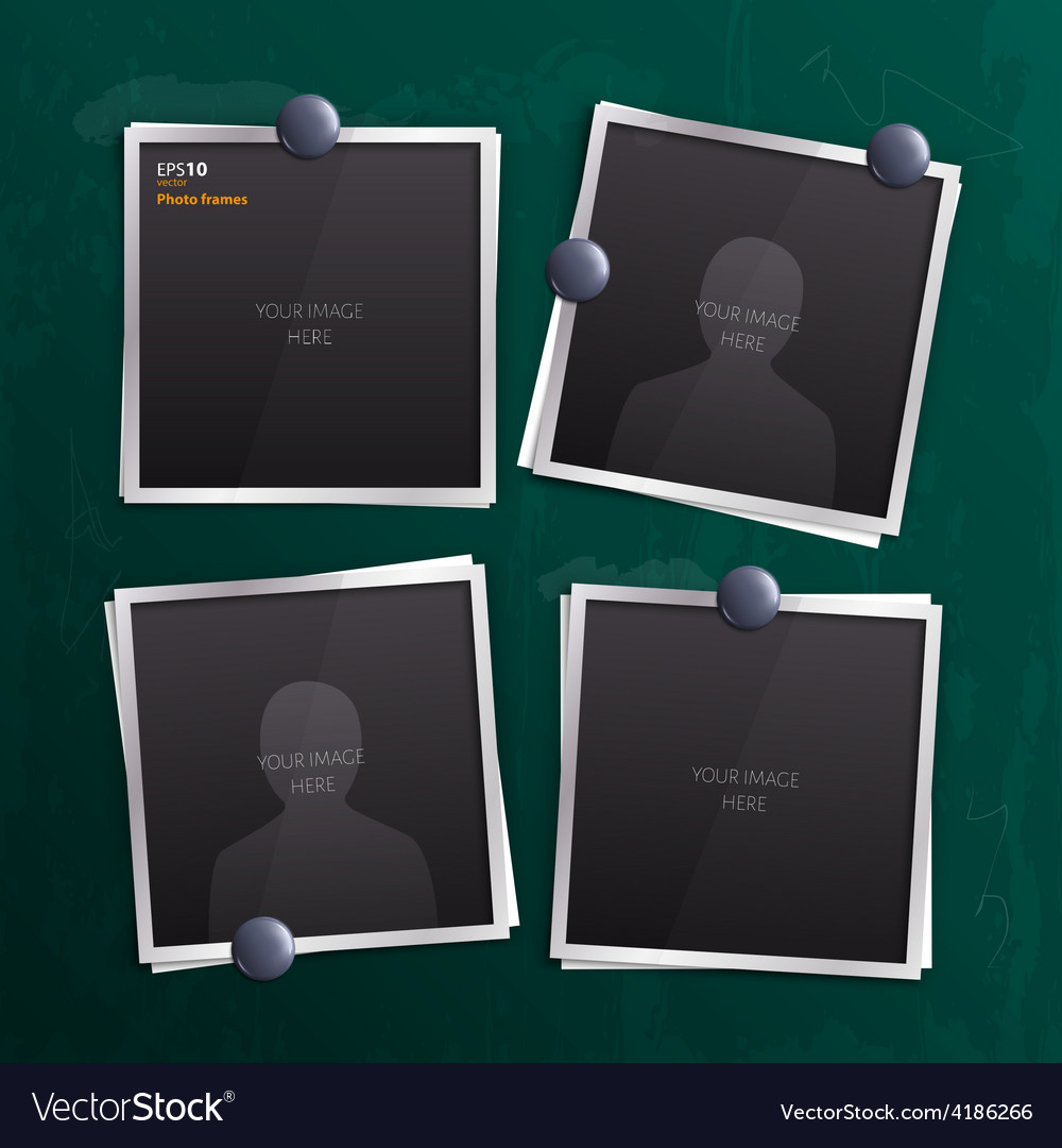 Set of empty photo frames on chalkboard vector | Price: 1 Credit (USD $1)