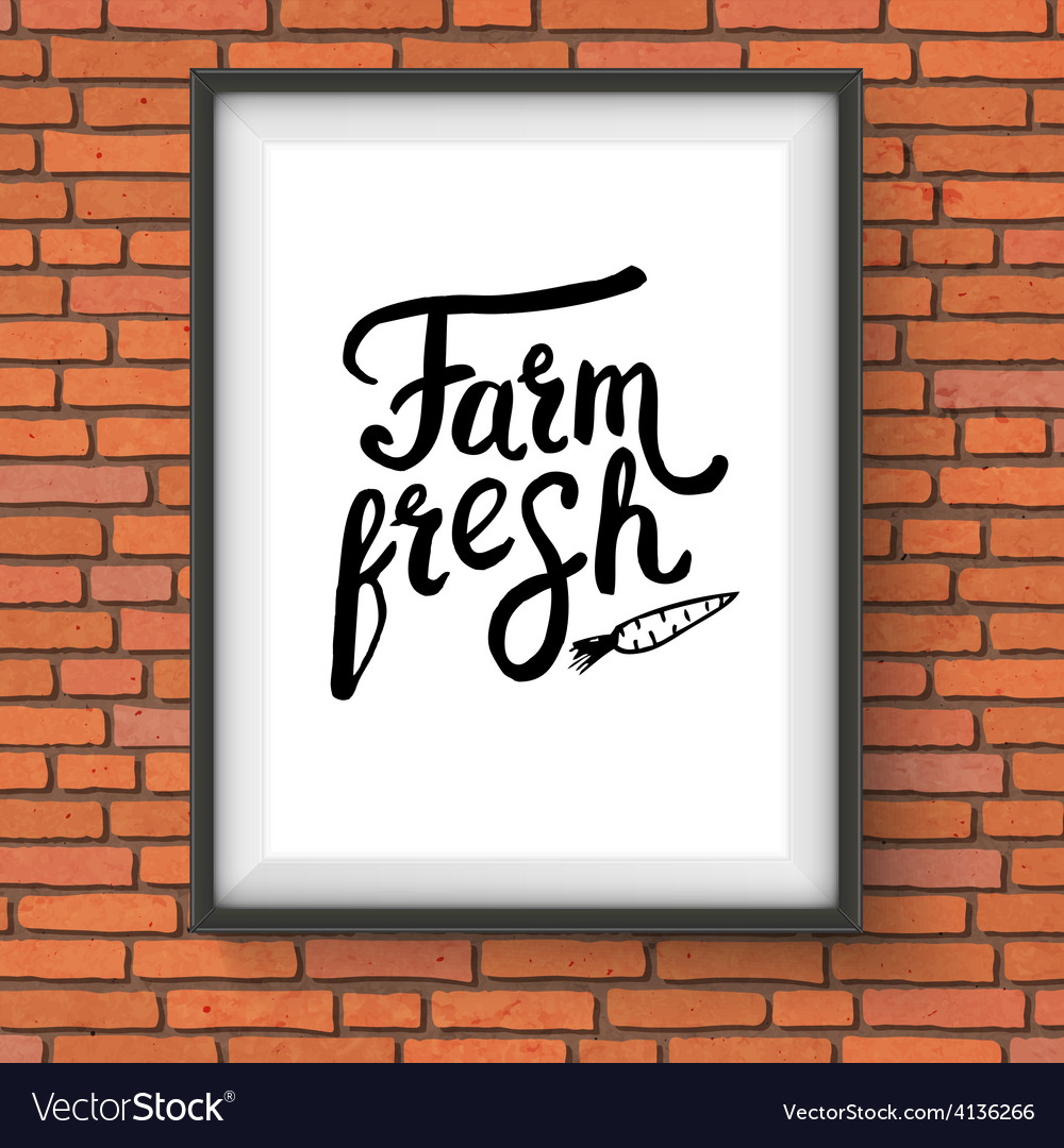 Sign advertising farm fresh produce on brick wall vector | Price: 1 Credit (USD $1)