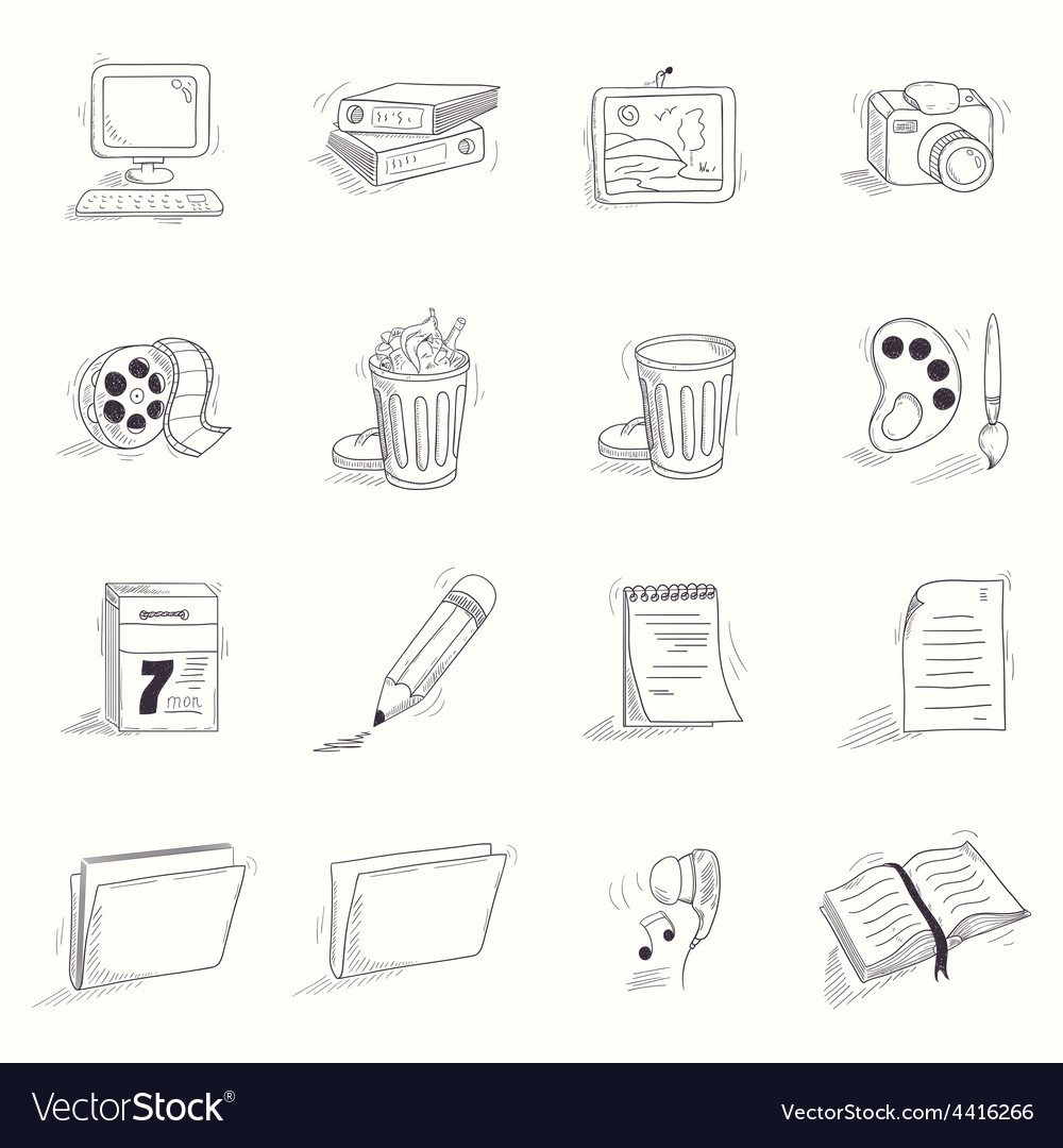 Sketch style desktop icons set vector | Price: 1 Credit (USD $1)