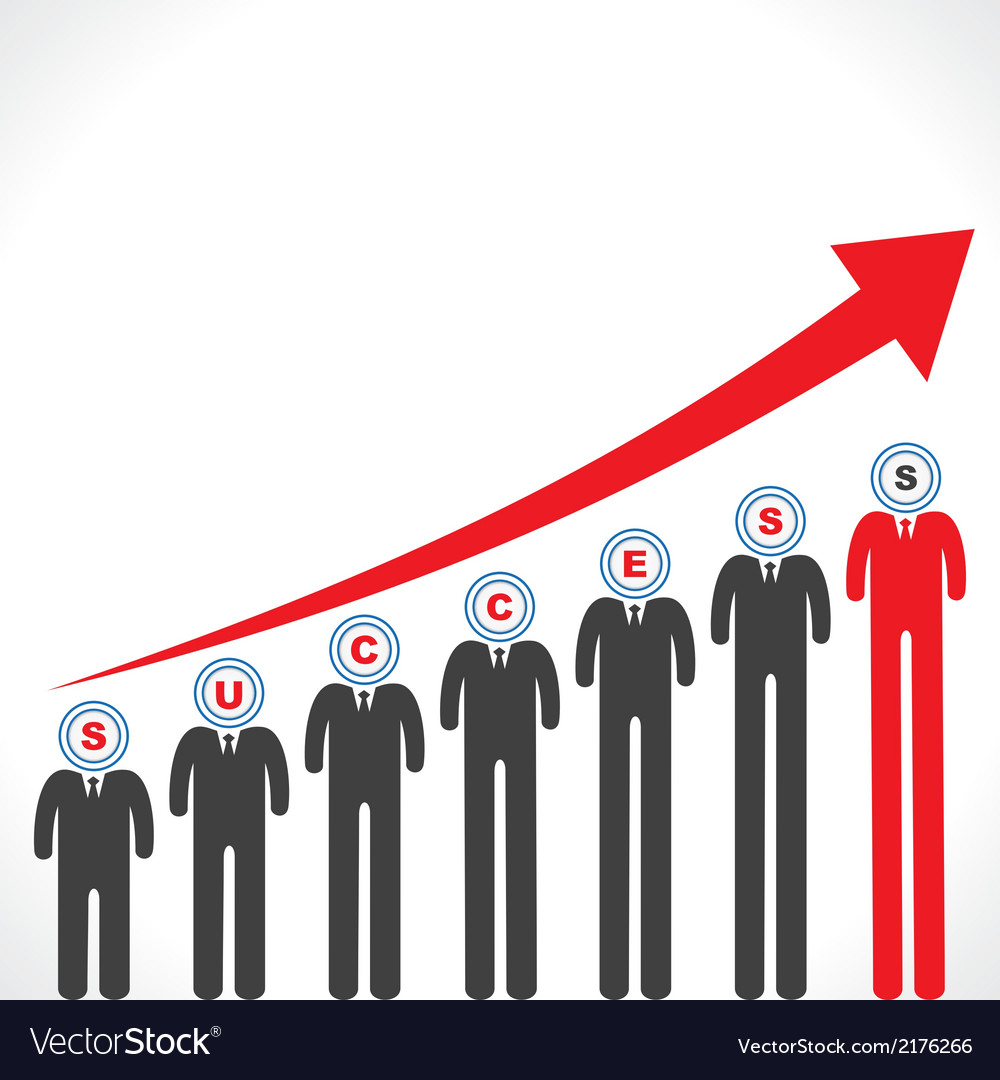 Success graph with businessmans face vector | Price: 1 Credit (USD $1)