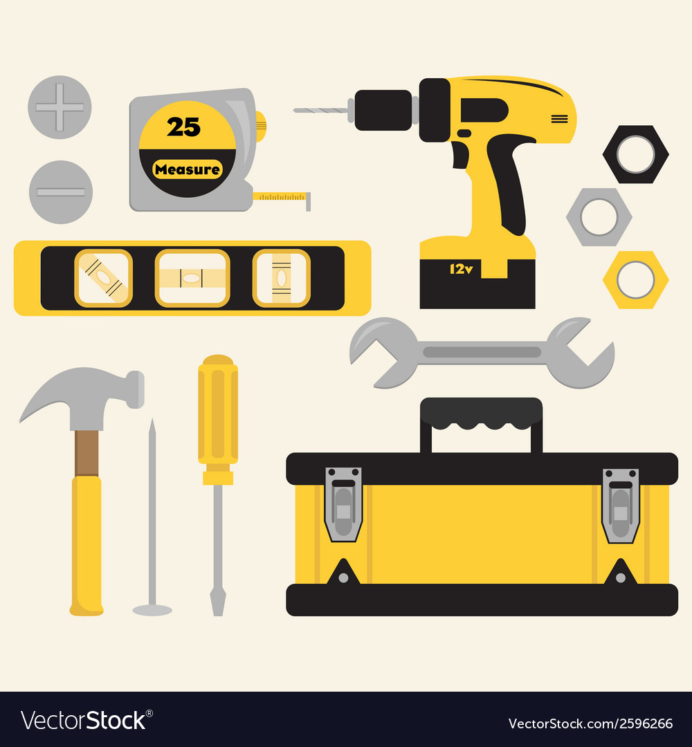Toolbox and tools set vector | Price: 1 Credit (USD $1)