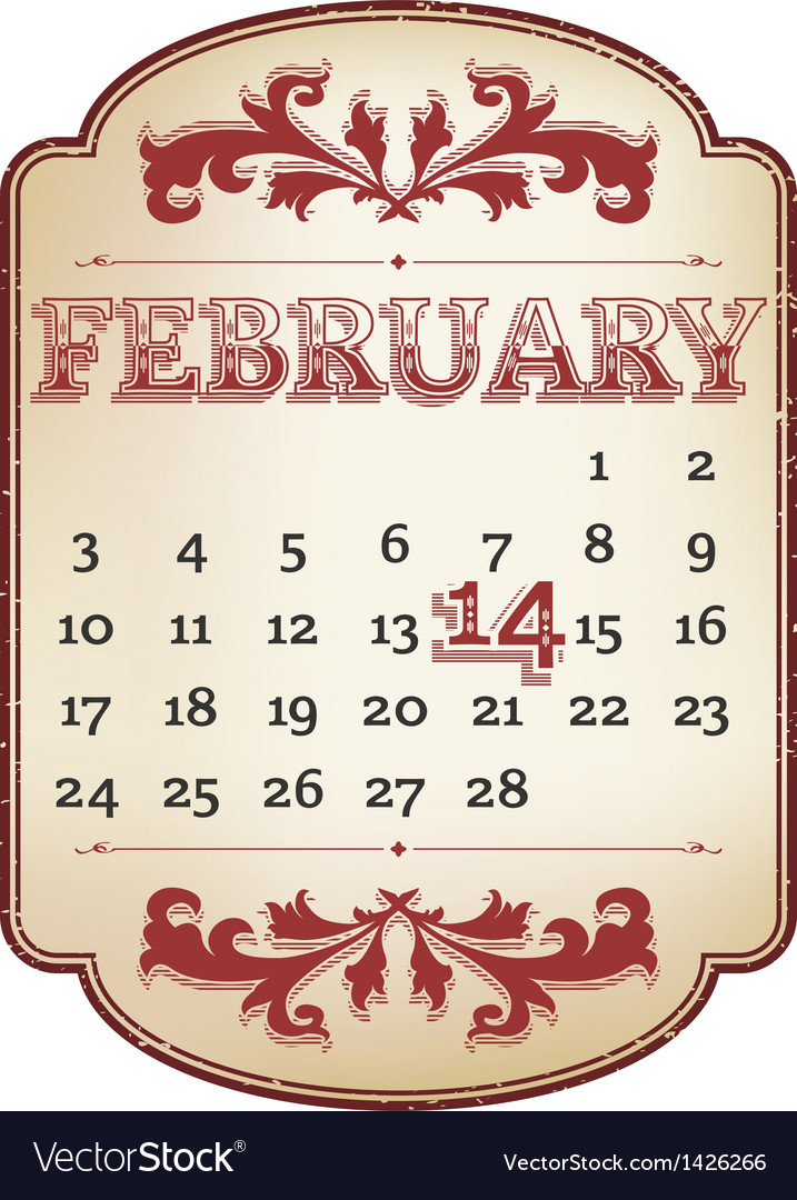 Valentines calendar vector | Price: 1 Credit (USD $1)