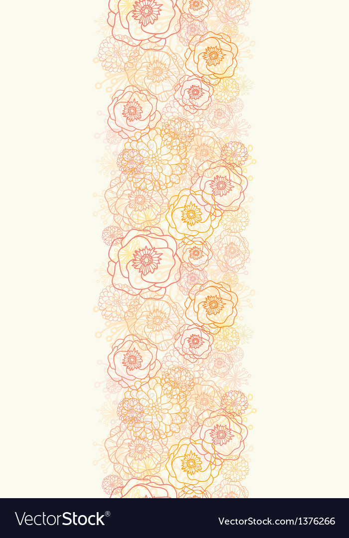 Warm flowers vertical seamless pattern background vector | Price: 1 Credit (USD $1)