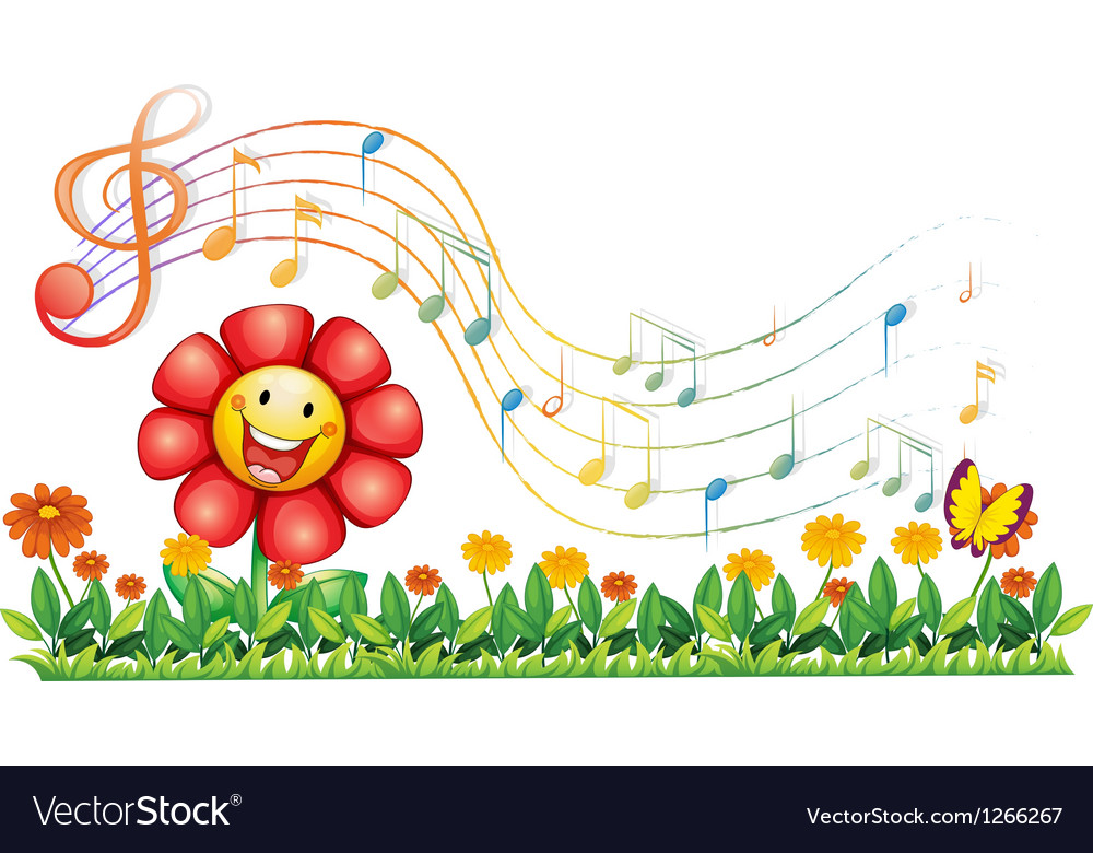A red flower in the garden with musical notes vector | Price: 1 Credit (USD $1)
