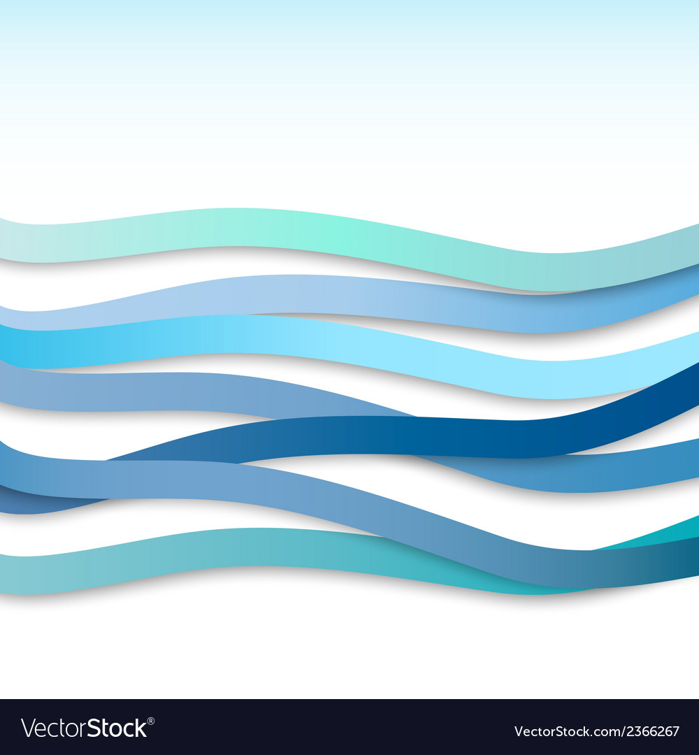 Blue wavy stripes vector