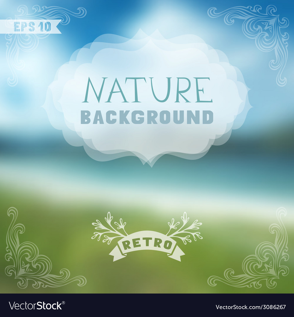 Blur landscape with ornate badge and vintage vector   Price: 1 Credit (USD $1)
