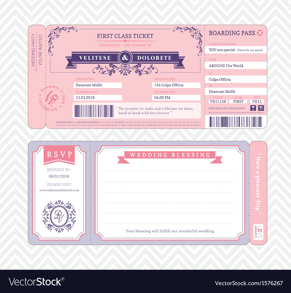 Boarding pass wedding invitation template vector | Price: 1 Credit (USD $1)