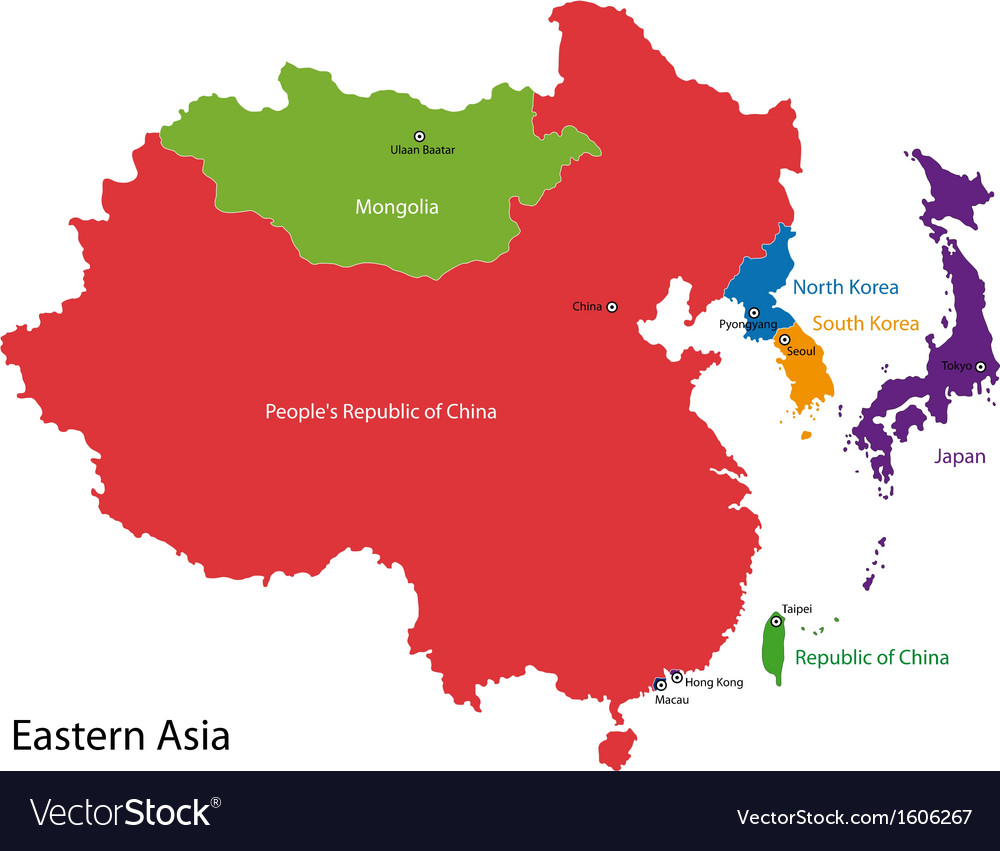 Eastern asia map vector   Price: 1 Credit (USD $1)