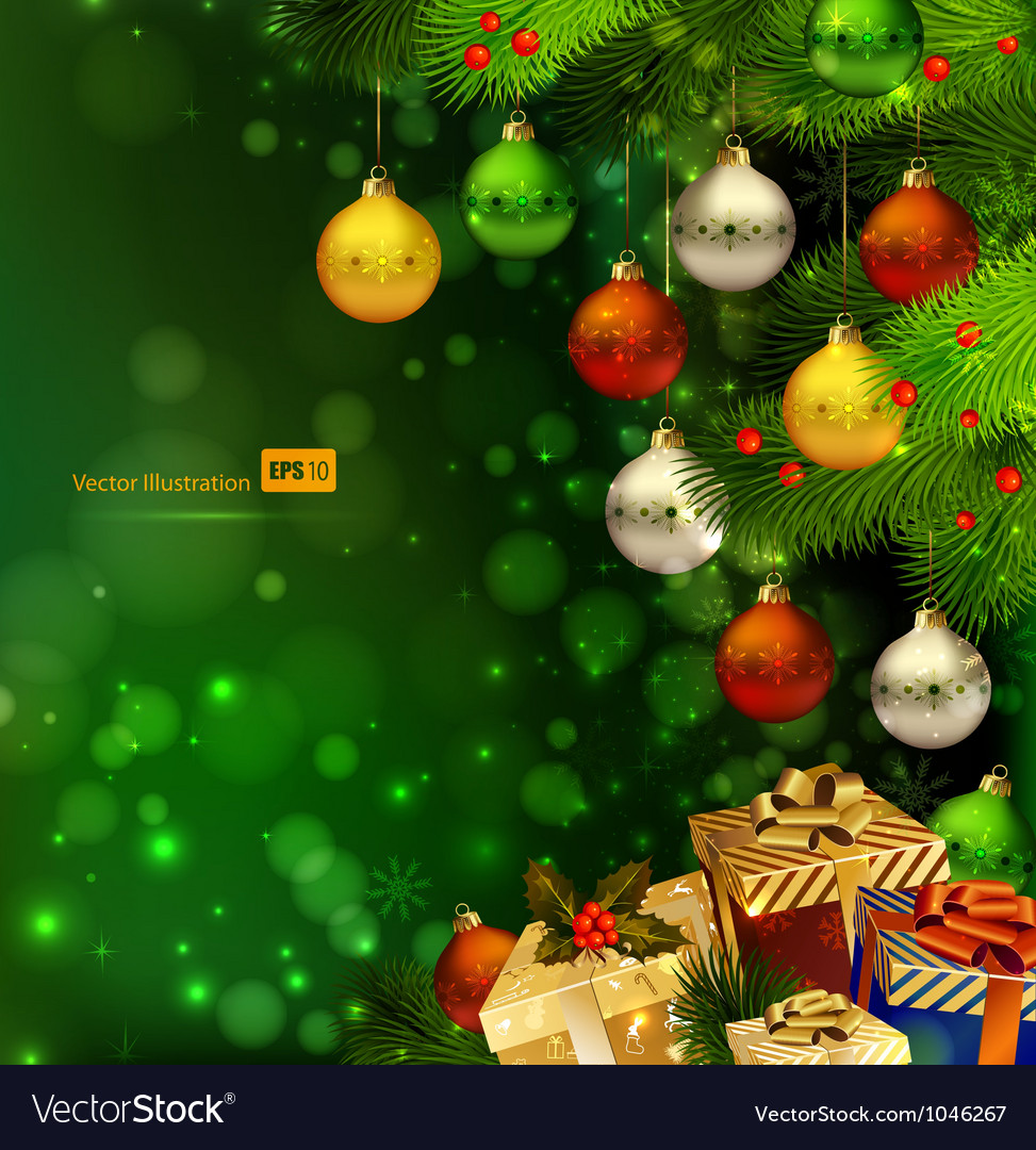 Green christmas background vector | Price: 3 Credit (USD $3)