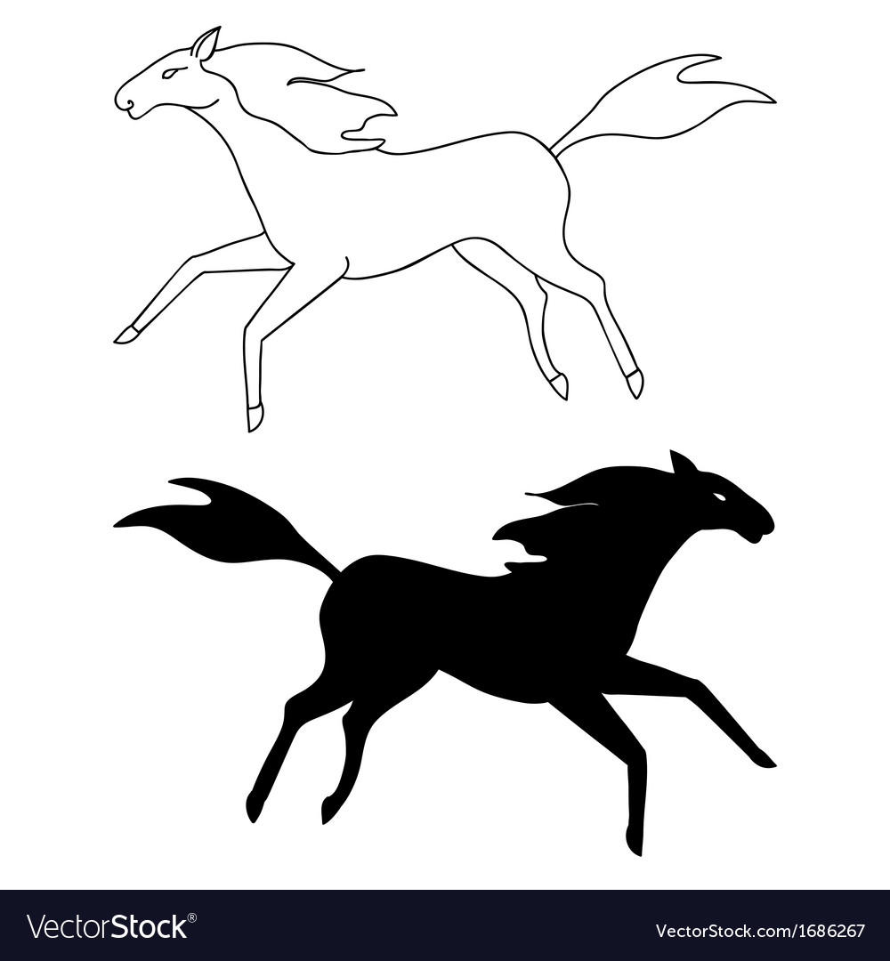 Horse sketch and silhouette vector | Price: 1 Credit (USD $1)