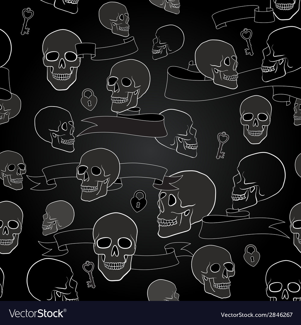 Human skulls seamless pattern vector | Price: 1 Credit (USD $1)