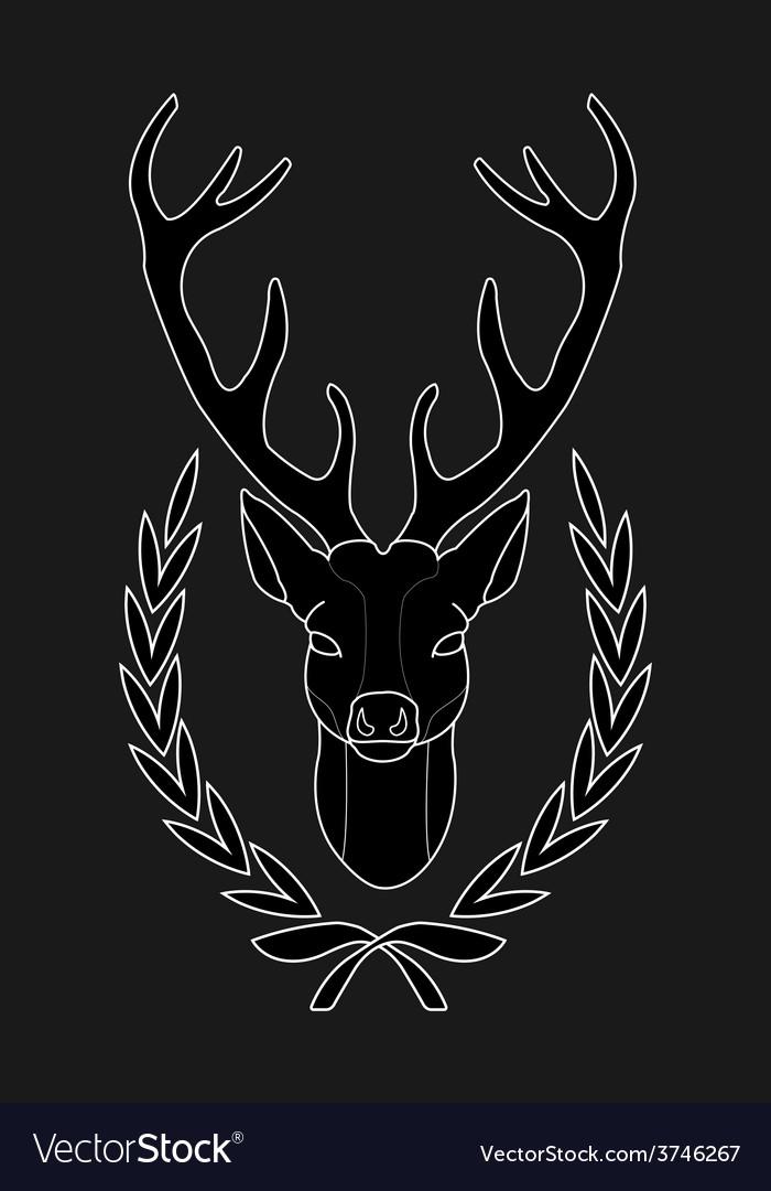 Hunting trophy deer head in laurel wreath black vector | Price: 1 Credit (USD $1)
