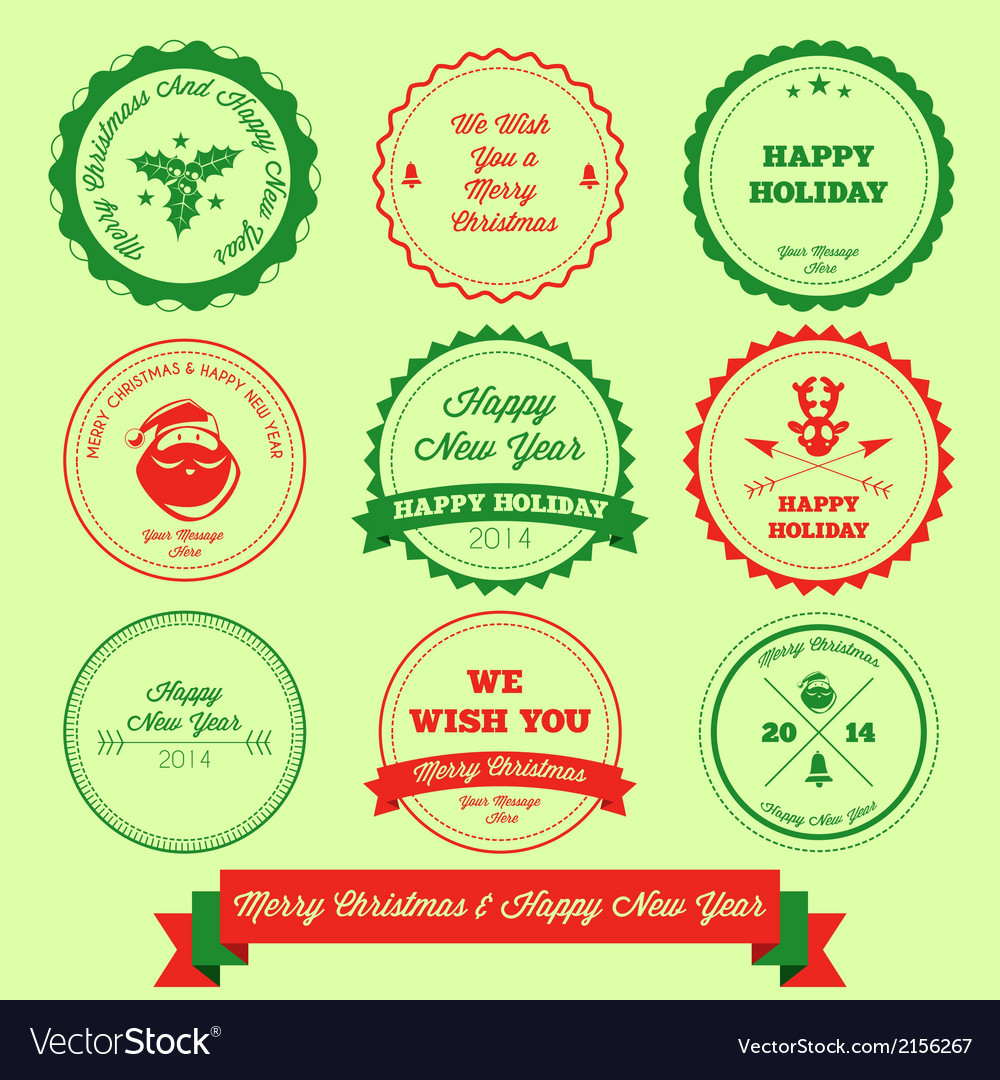 Merry christmas and happy new year label stamp vector | Price: 1 Credit (USD $1)