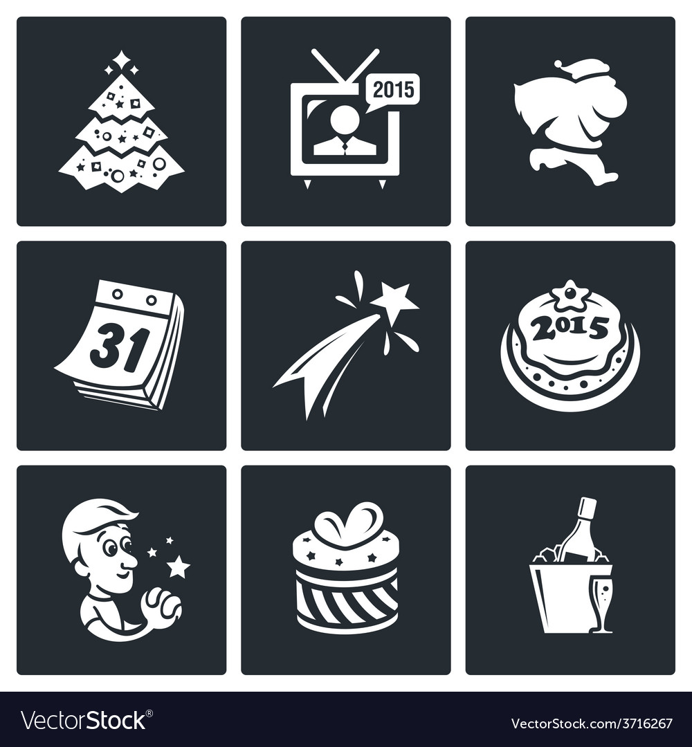 New year icons set vector   Price: 1 Credit (USD $1)