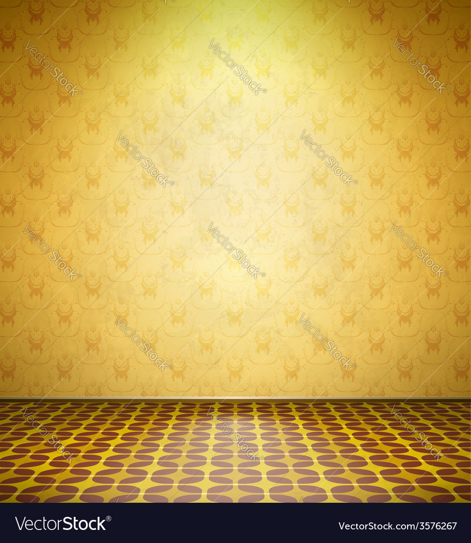 Old abandoned room with yellow wallpaper vector | Price: 1 Credit (USD $1)