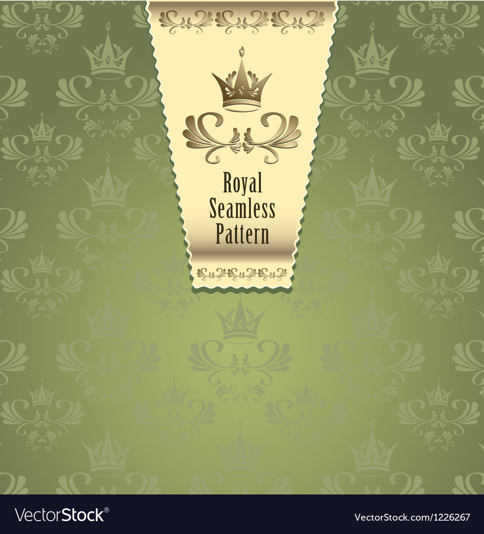 Royal seamless pattern with crown or royal green b vector | Price: 1 Credit (USD $1)