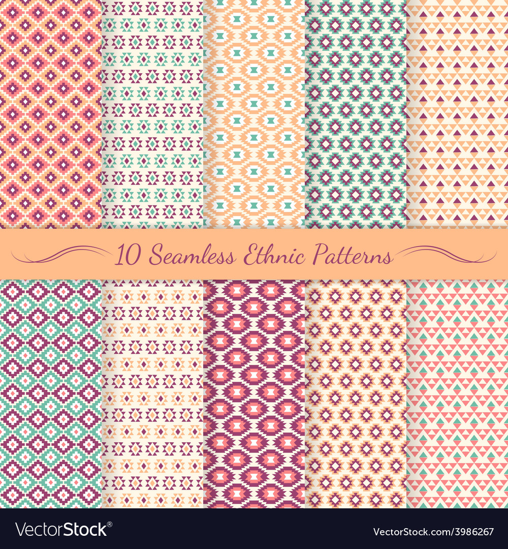 Set of ethnic seamless patterns vector | Price: 1 Credit (USD $1)