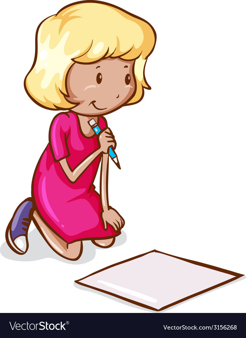 A coloured drawing of a girl reading and writing vector | Price: 1 Credit (USD $1)