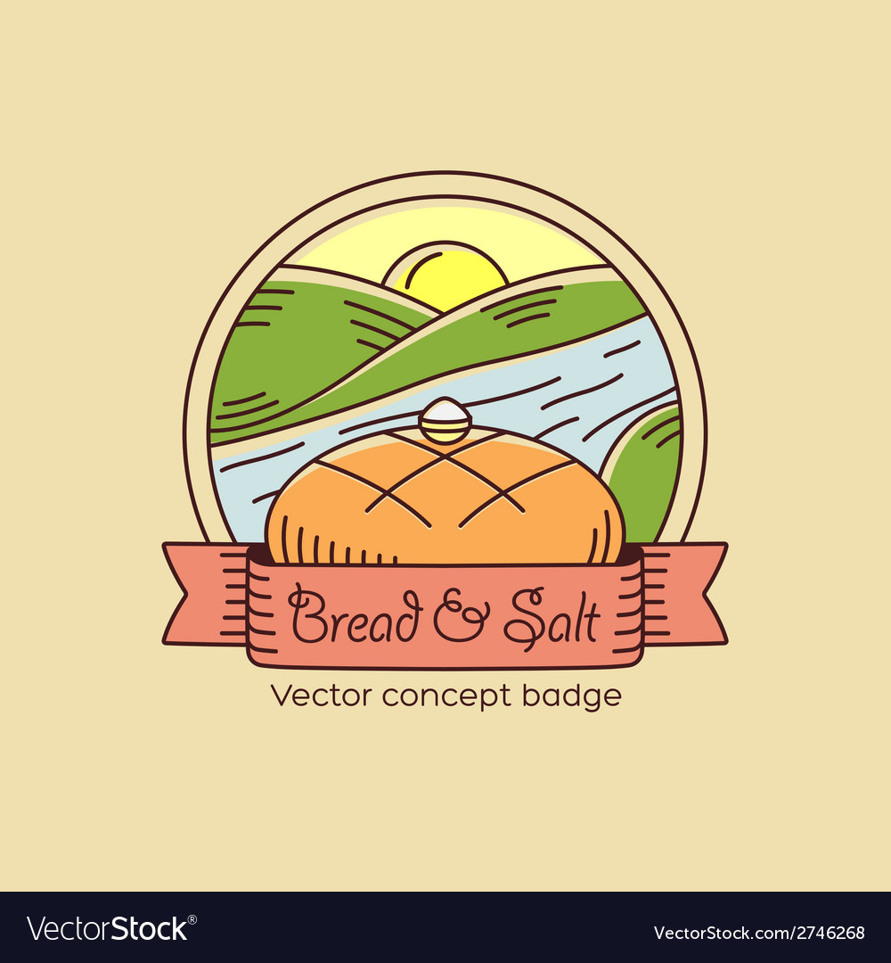 Bread and salt line style badge or logo template vector | Price: 1 Credit (USD $1)