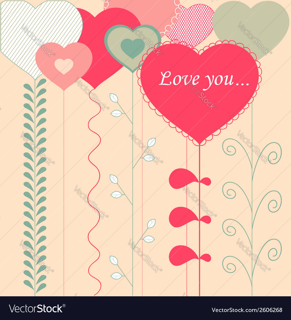 Card with decorative hearts vector | Price: 1 Credit (USD $1)