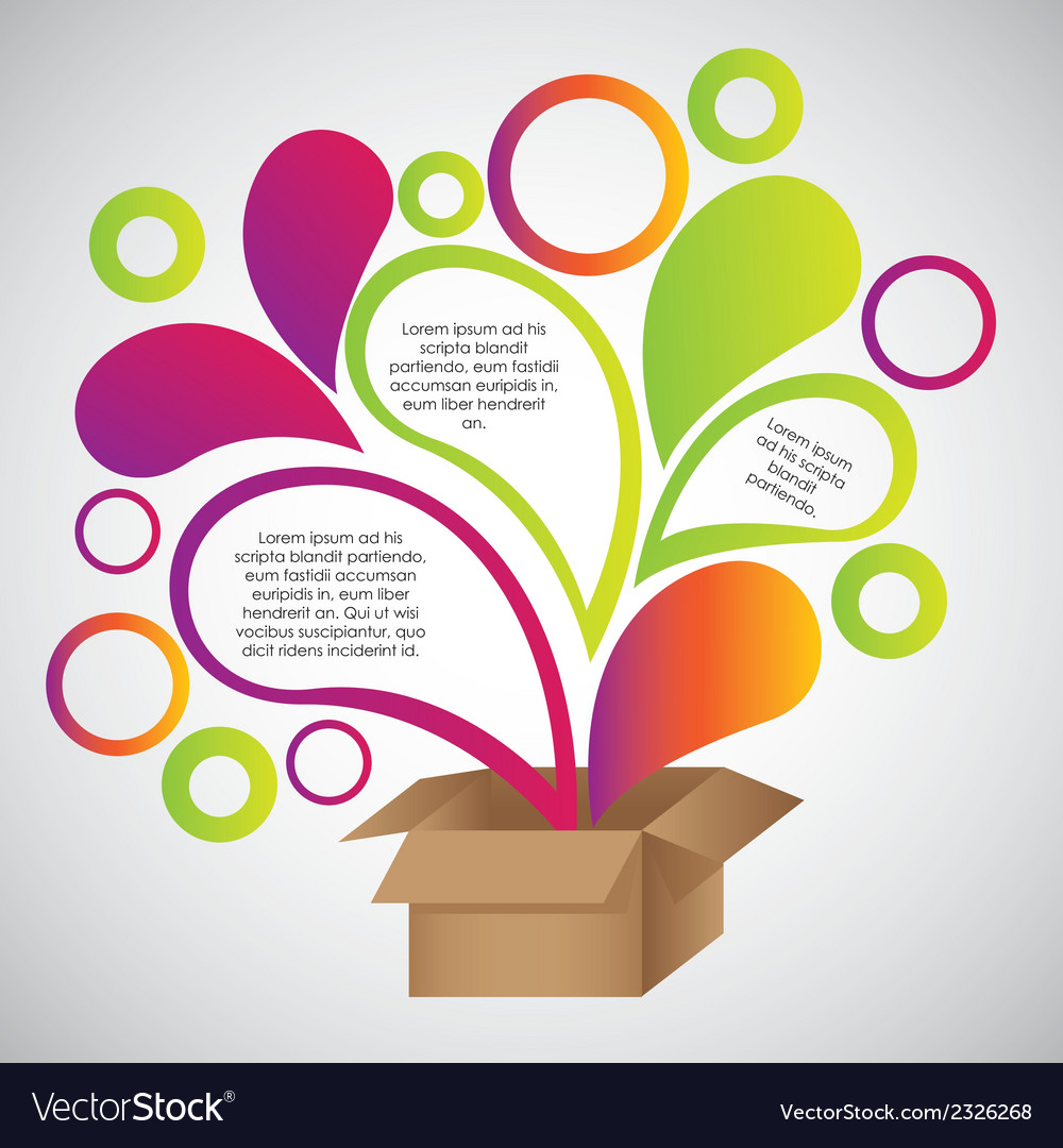 Color drops out of cardboard boxes vector | Price: 1 Credit (USD $1)