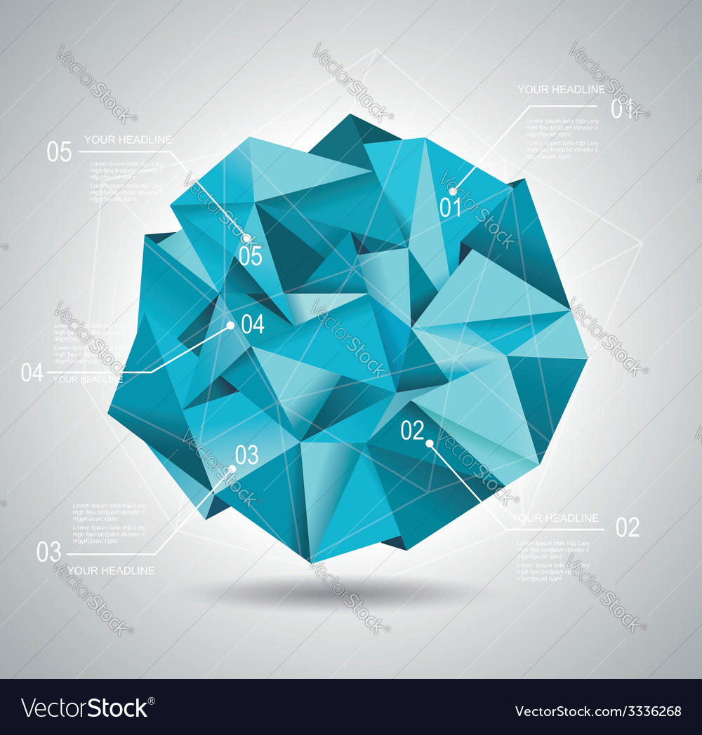 Diagram and time line design with blue folded vector | Price: 1 Credit (USD $1)