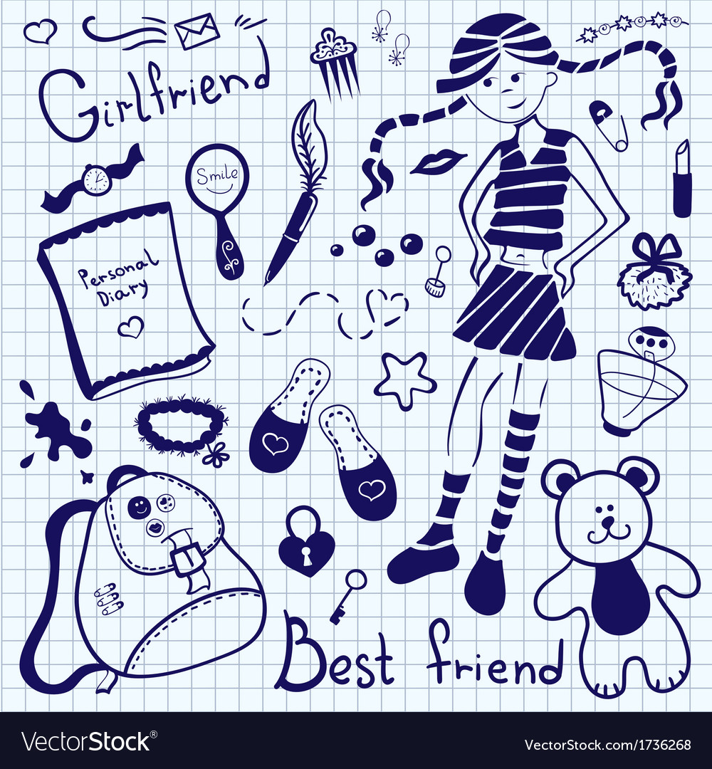 Drawing pen on notebook sheet girlfriend vector | Price: 1 Credit (USD $1)