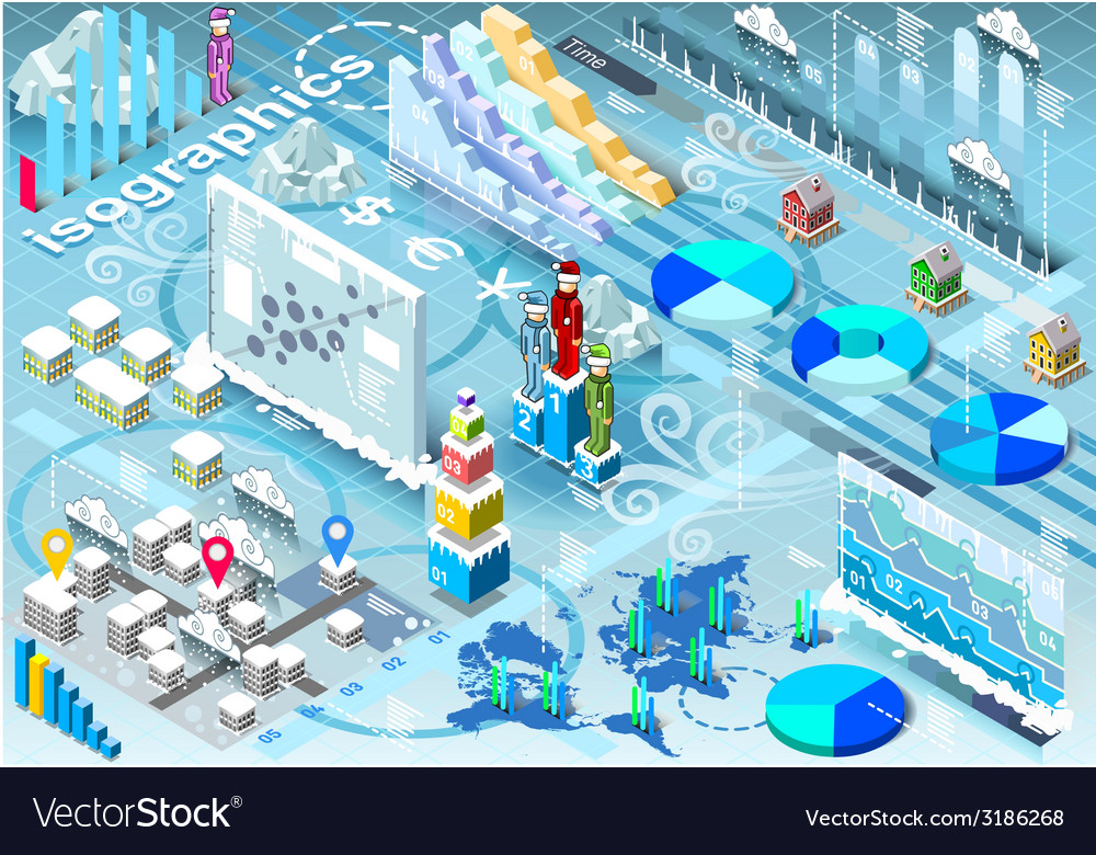 Isometric infographic set winter elements in vector | Price: 3 Credit (USD $3)