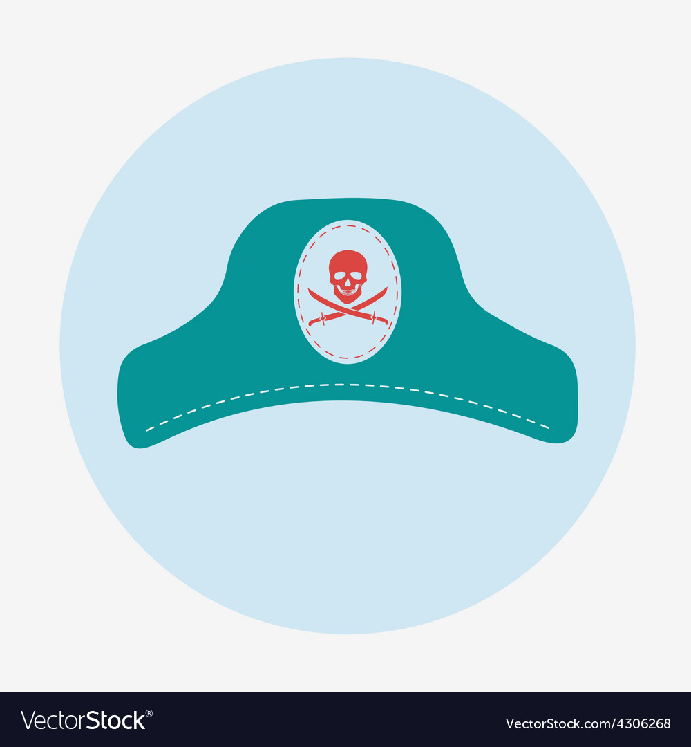 Pirate iconcaptain hat flat design vector | Price: 1 Credit (USD $1)