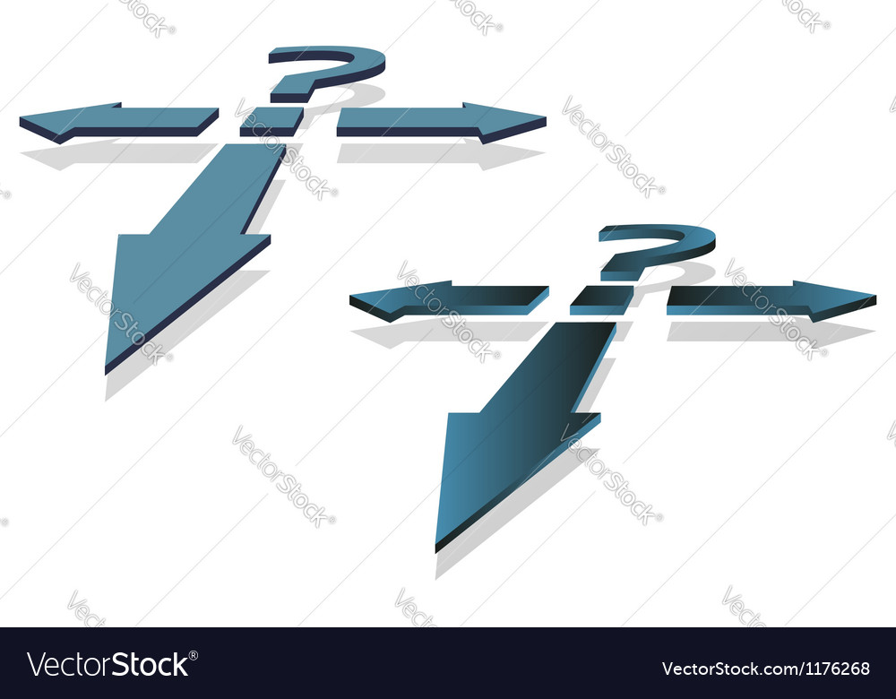 Question mark and arrows vector | Price: 1 Credit (USD $1)