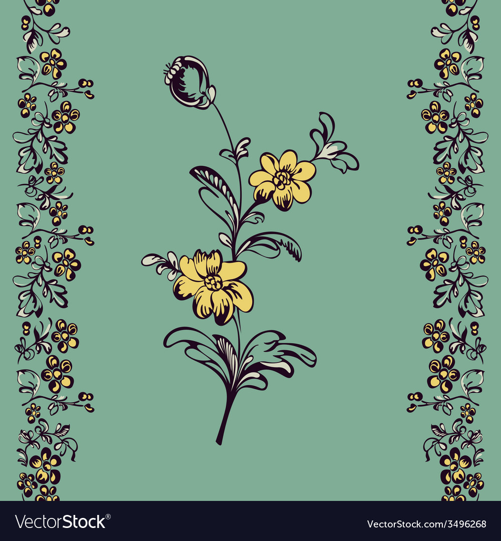 Seamless floral pattern flower vector | Price: 1 Credit (USD $1)