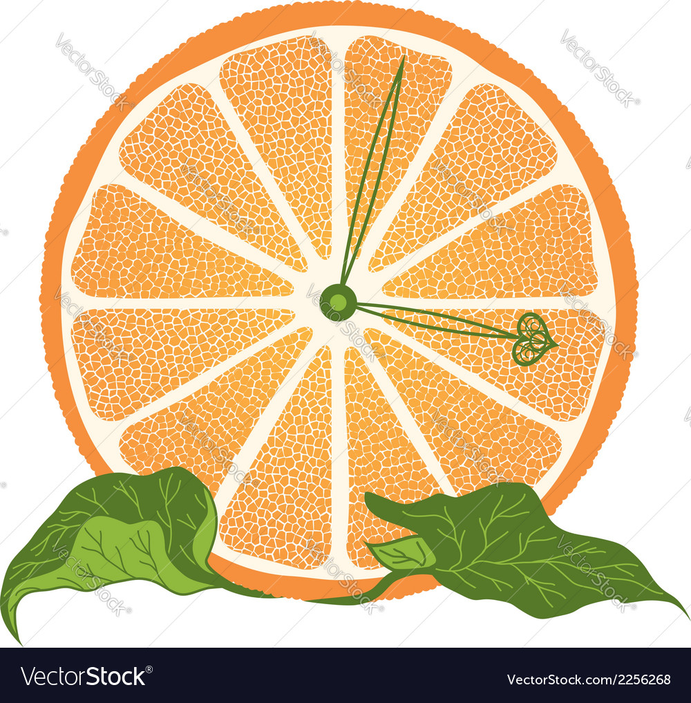Slice of orange as clock vector | Price: 1 Credit (USD $1)