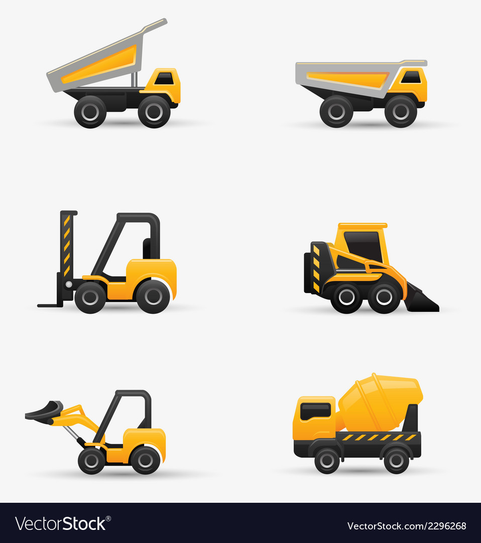 Truck forklift bulldozer set vector | Price: 1 Credit (USD $1)