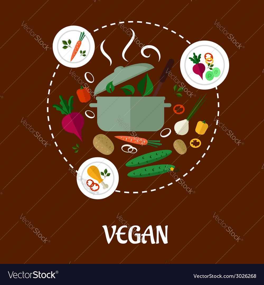 Vegan flat infographic design vector | Price: 1 Credit (USD $1)