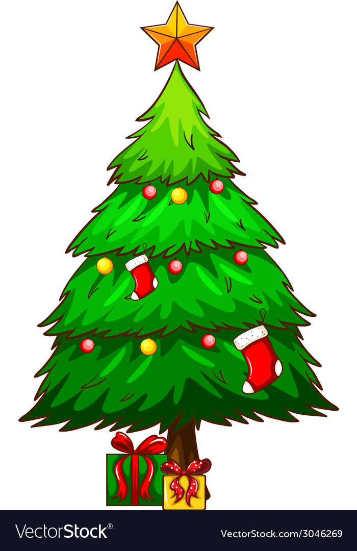 A simple sketch of a christmas tree vector | Price: 1 Credit (USD $1)