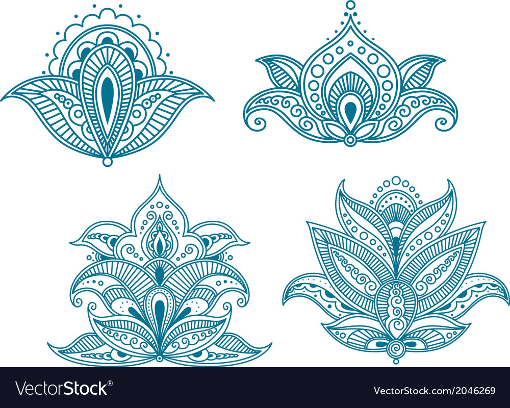 Abstract persian floral embellishments vector | Price: 1 Credit (USD $1)