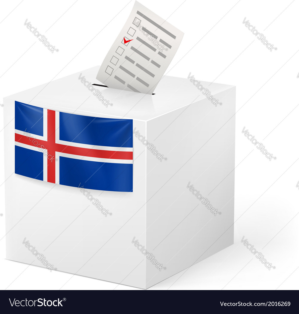 Ballot box with voting paper iceland vector | Price: 1 Credit (USD $1)