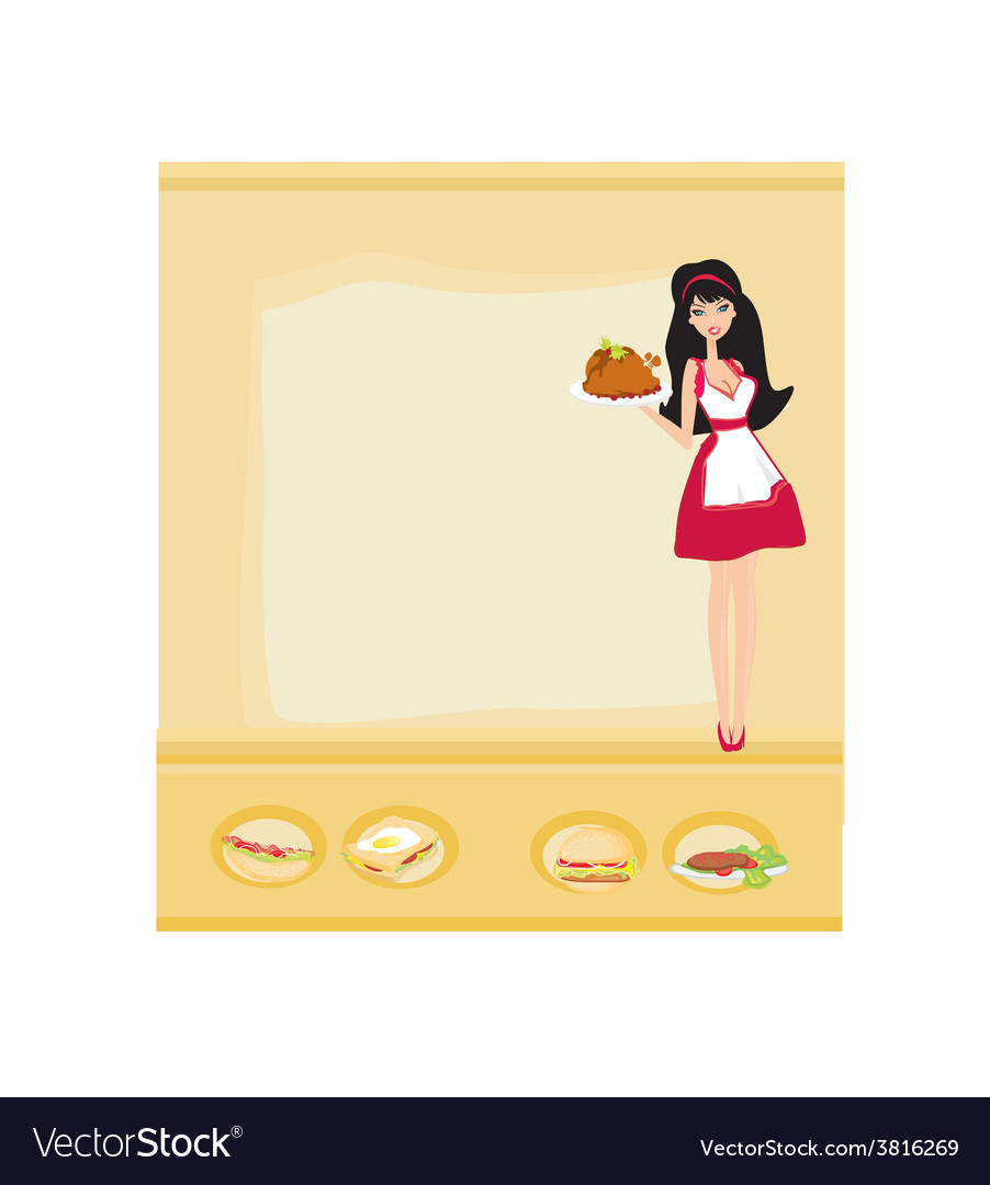 Beautiful waitress serving a chicken vector | Price: 1 Credit (USD $1)