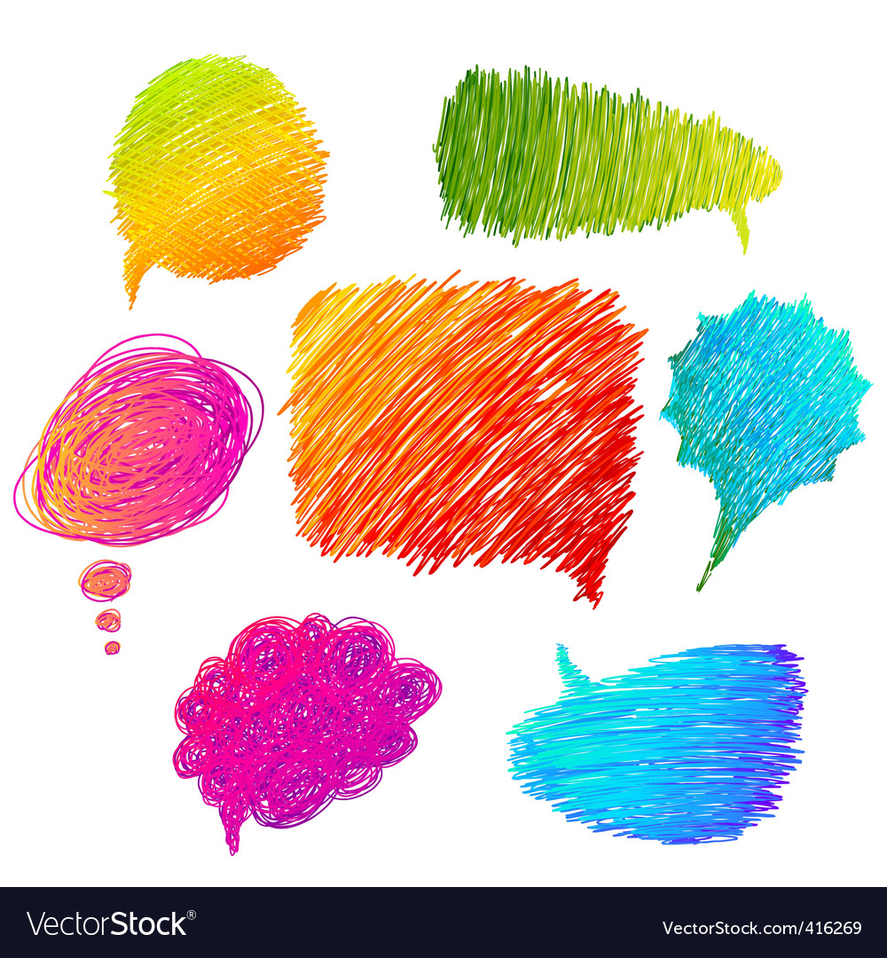 Colorful hand drawn speech bubbles vector | Price: 1 Credit (USD $1)