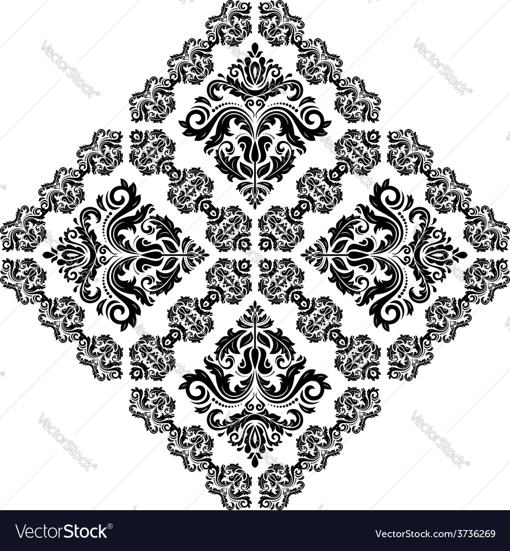Damask pattern orient ornament black and vector | Price: 1 Credit (USD $1)