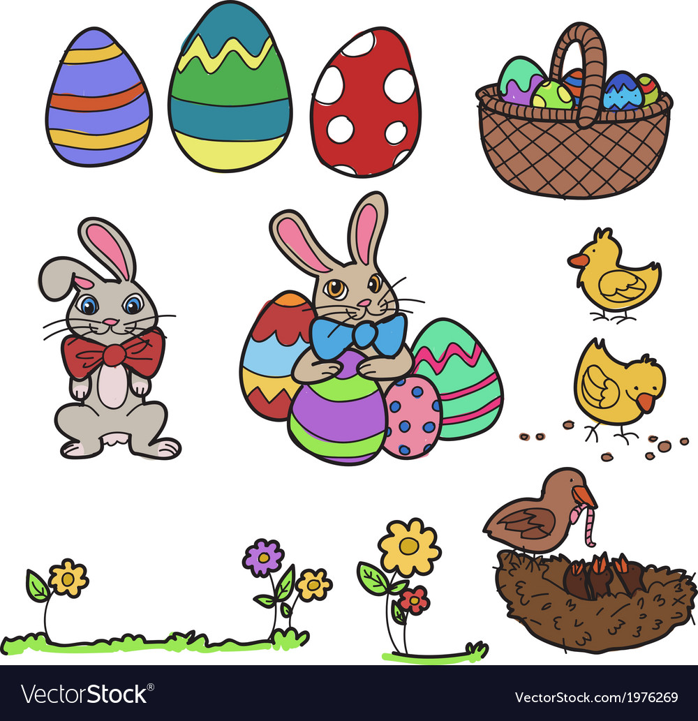 Easter elements hand drawn vector | Price: 1 Credit (USD $1)