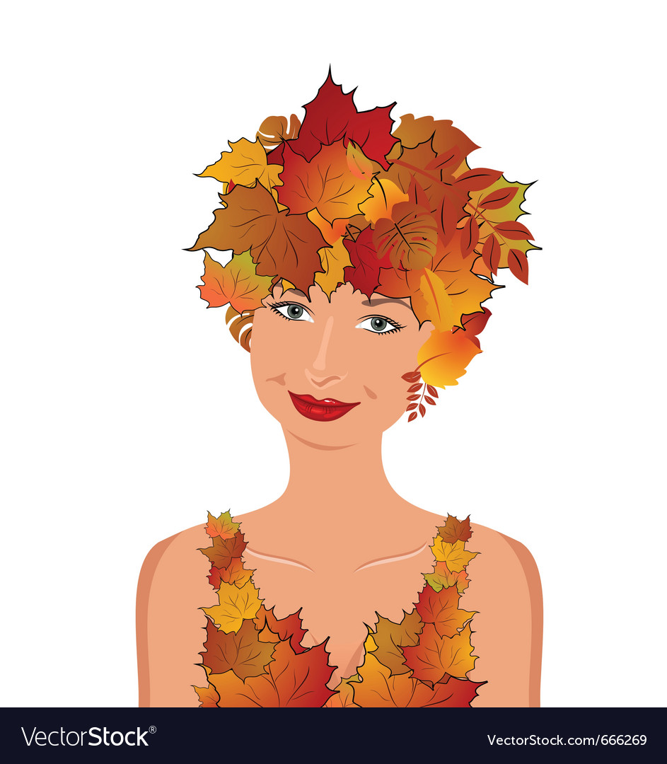 Elegant autumn girl vector | Price: 3 Credit (USD $3)