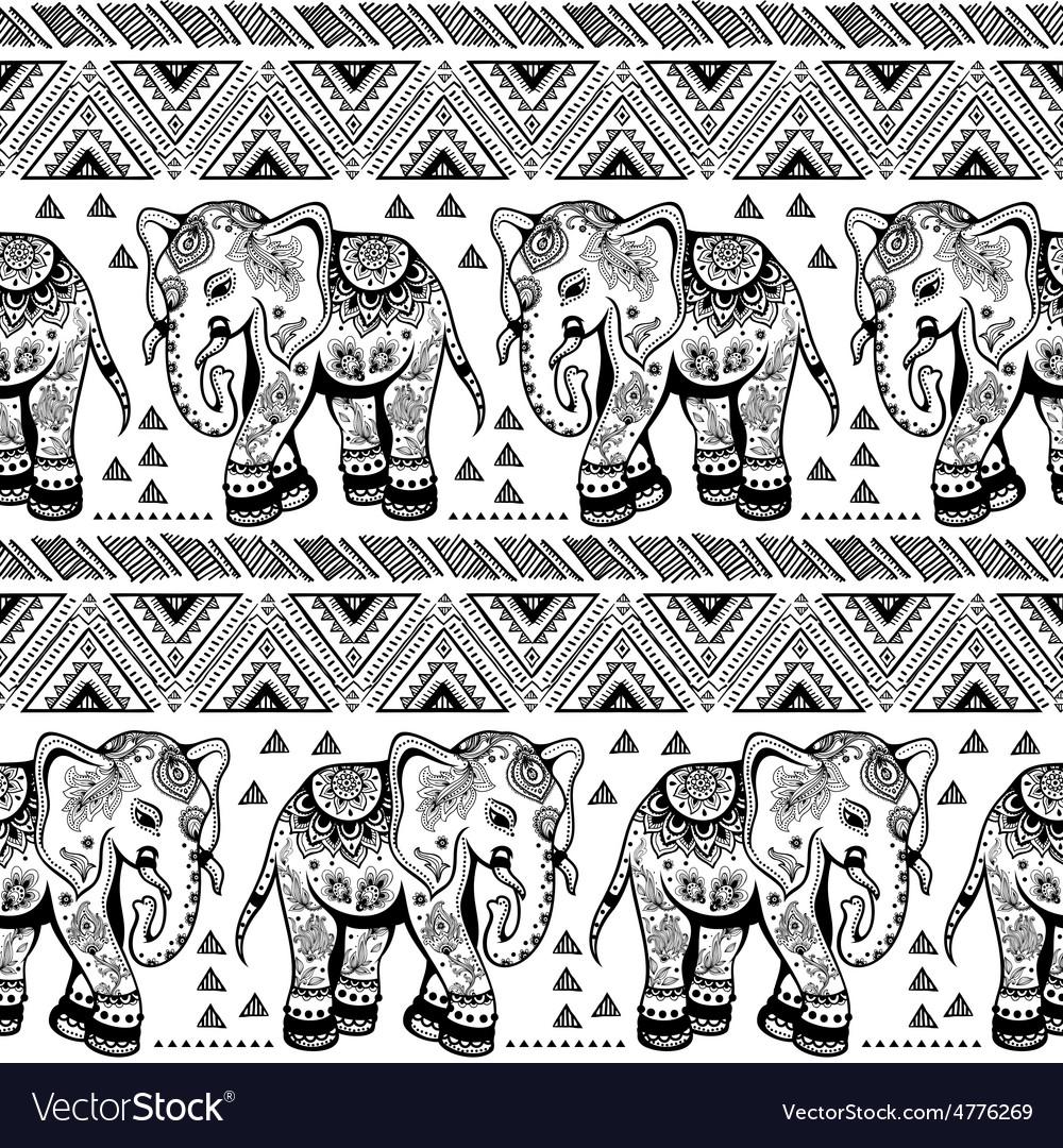 Ethnic elephant seamless vector | Price: 1 Credit (USD $1)