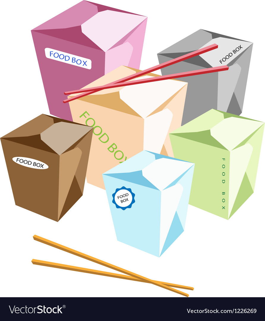 Food boxs and chopsticks on white background vector | Price: 3 Credit (USD $3)