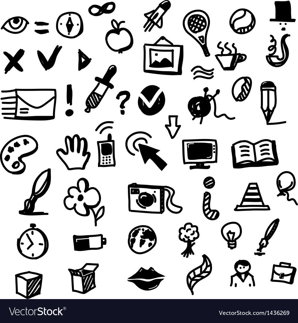 Hand drawing sketch icon set of different objects vector | Price: 1 Credit (USD $1)