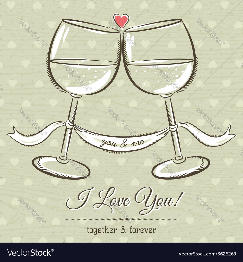Romantic card with two glass of wine vector | Price: 1 Credit (USD $1)